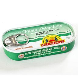 Filets d'anchois - roulés aux câpres - à l'huile d'o...