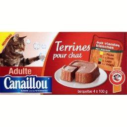Terrines aux viandes blanches, pour chat adulte