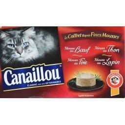 Mousses pour chat, boeuf, thon, foie et lapin