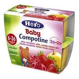 Baby Compotine pomme-framboise et pomme-fraise-cassi...