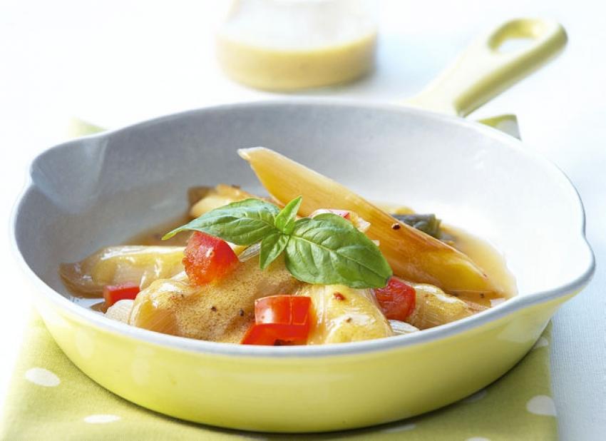 Salade de poireaux à la vinaigrette tiède