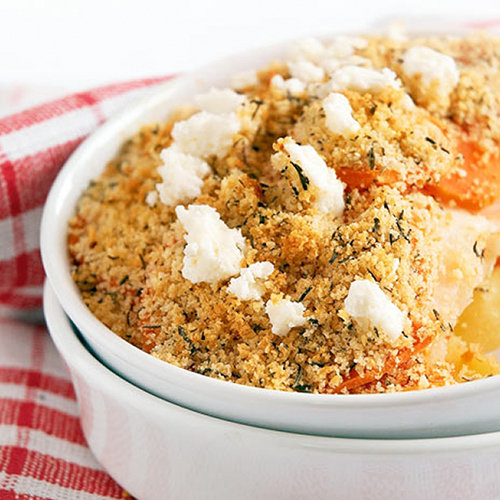 Crumble aux carottes, céleri-rave et patate douce