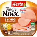 Herta Tendre Noix - Jambon cuit fumé au bois de hêtre la barquette de 4 tranches - 140 g