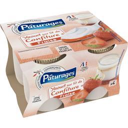 Pâturages Yaourt sur lit de confiture de fraise les 4 pots de 125 g