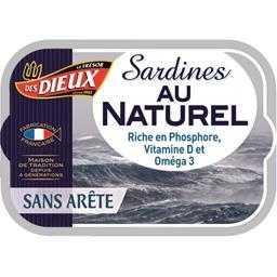 Les Dieux Sardines au naturel sans arête la boite de 80,5 g