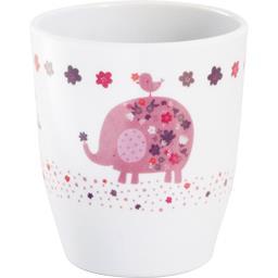 Gobelet blanc avec décor rose