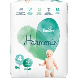 Pampers Couches harmonie taille 4, 9-14 kg Le paquet de 19 couches