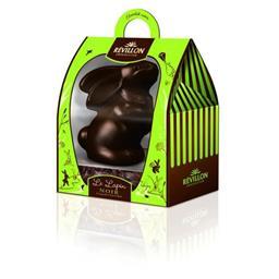 Révillon Chocolatier Le Lapin noir et sa garniture noir et lait