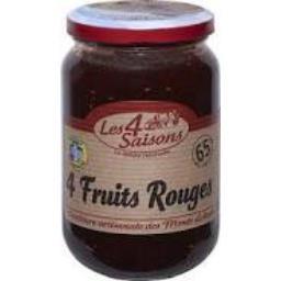 Confiture 4 fruits rouges, 65% de fruits