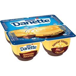 Danette - Crème dessert saveur vanille sur lit au chocolat