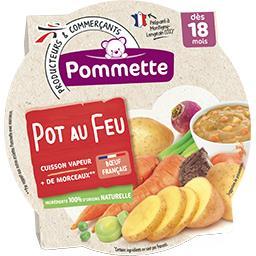 Pot au feu avec + de morceaux, dès 18 mois, l'assiette de 260 g,POMMETTE,l'assiette de 260 g