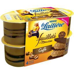 Nestlé La Laitière Feuilleté de mousse café les 4 pots de 57 g