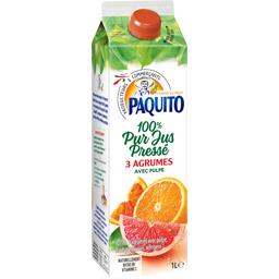 100% pur jus pressé 3 agrumes avec pulpe