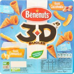3D Bugles - Biscuits apéritif goûts salé, emmental et cacahuète