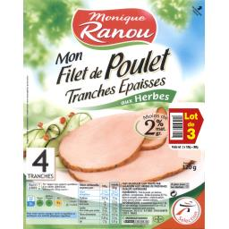 Monique Ranou Mon Filet de Poulet aux herbes de Provence les 3 barquettes de 4 tranches - 360 g