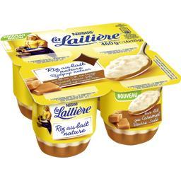 Riz au lait nature sur lit au caramel beurre salé