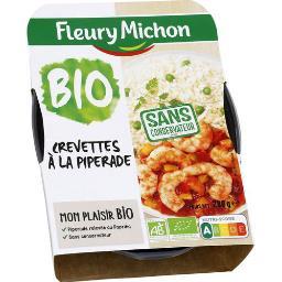 Crevettes à la piperade & riz BIO