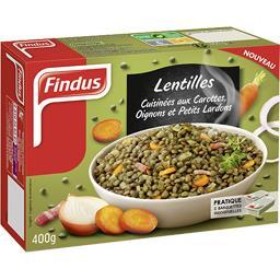 Lentilles cuisinées aux carottes oignons et petits lardons
