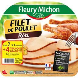 Fleury Michon Filet de poulet rôti les 2 barquettes de 4 tranches - 360 g