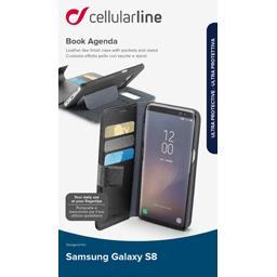 Etui rabat portefeuille noir rangement CB Samsung Galaxy S8