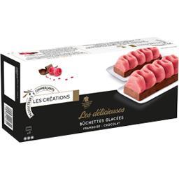 Les Créations Les Délicieuses bûchettes glacées framboise chocolat la boite de 4 - 286 g