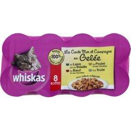 Aliment pour chat en gelée viandes/poisson 4 variété...