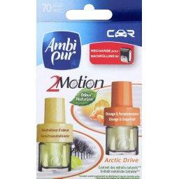 Car 2motion, arctic drive, recharges pour diffuseur de voiture, neutraliseur d'odeur + parfum orange & pamplemousse, les