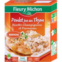 Poulet jus au thym risotto champignons et parmesan