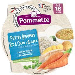Fondue de petits légumes, riz et colin d'Alaska, dès 18 mois,POMMETTE,l'assiette de 260g