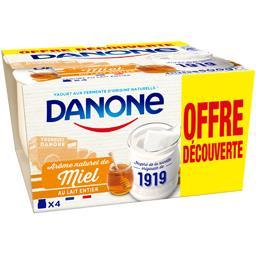 Danone Yaourt arôme naturel de miel au lait entier 4x125g