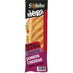 Sandwich Le Méga pain viennois jambon cheddar salade
