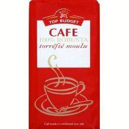 Café, 100% robusta, torréfié moulu