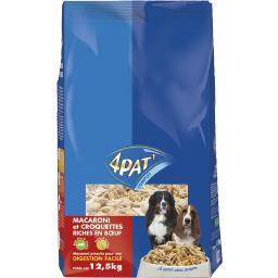 4 Pat' Macaroni et croquettes riche en bœuf pour chien le sac de 12,5 kg