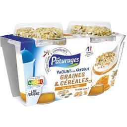 Yaourt à la Grecque graines & céréales sur lit de mi...