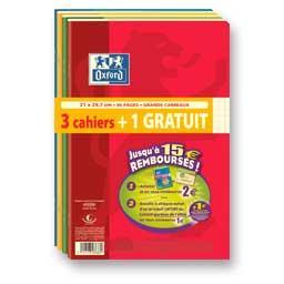 Lot de 3 + 1 offert cahiers, piqûres 210 x 297, 96p, Seyes