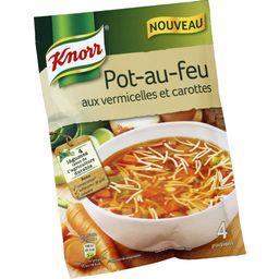 Soupe au pot-au-feu aux vermicelles et carottes