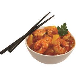 Crevettes marinées & légumes sauce piquante