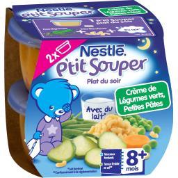 P'tit Souper - Plat du soir crème de légumes verts, petites pâtes, 8+ mois