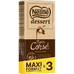 Nestlé Chocolat Dessert - Chocolat noir corsé les 3 tablettes de 200 g - Maxi format