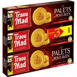 Traou Mad de Pont-Aven Les Palets de Pont-Aven au beurre les 3 boites de 130 g