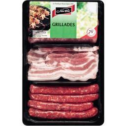 Plateau assortiment porc à griller (4 chipos, 4 merguez, 4 tranches de poitrines)