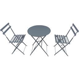 Set bistrot : 1 table et 2 chaises  coloris gris anthracite