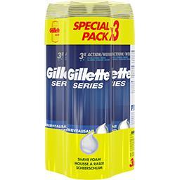 Gillette Series - Mousse à raser soin revitalisant les 3 bombes de 250 ml