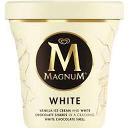 Crème glacée White vanille et éclats de chocolat bla...