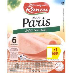 Monique Ranou Jambon Mon Paris sans couenne la barquette de 6 tranches - 315 g