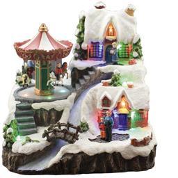 Village de Noël et carrousel animé LED