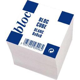 Bloc cube encolle papier offset blanc uni