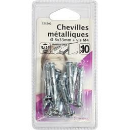 Chevilles métalliques 8x33mm + vis M4