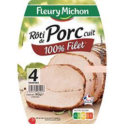 Fleury Michon Rôti de porc cuit 100% filet la barquette de 4 tranches - 160 g