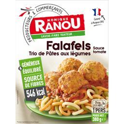 Monique Ranou Falafels trio de pâtes aux légumes sauce tomate la barquette de 380 g